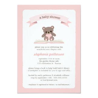 Pink Teddybear Bring a Book Baby Shower Invitation