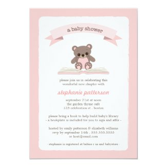 Pink Teddybear Bring a Book Baby Shower Invitation