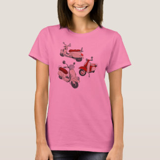 Pink Tee Shirt with Cream Scooter Illustration