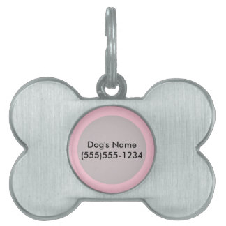 Pink template to Customize with pictures and text Pet Name Tag