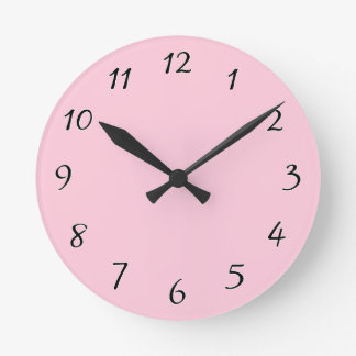 Pink template to Customize with pictures and text Round Clock