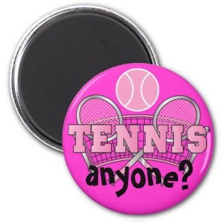 Pink | Tennis Anyone? 2 Inch Round Magnet