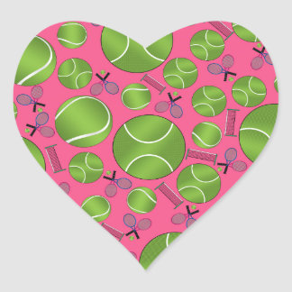 Pink tennis balls rackets and nets heart sticker