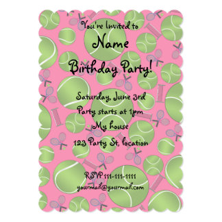 Pink tennis balls rackets and nets personalized invites