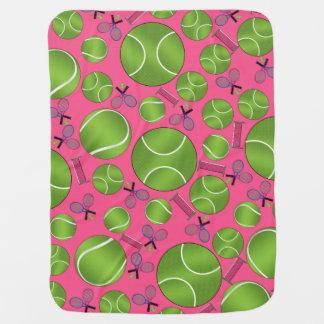 Pink tennis balls rackets and nets stroller blanket