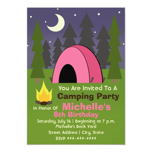 "Pink Tent Camping Birthday Party Invitation 5"" X 7"" Invitation Card"
