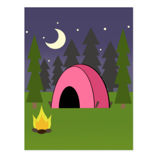 Pink Tent Camping Birthday Party Postcard Invite