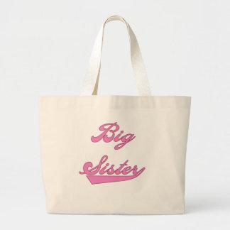 Pink Text Big  Sister Large Tote Bag