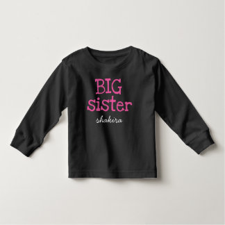 Pink Text Big Sister Personalized Add Name Toddler T-shirt