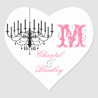 Pink Text Black Chandelier Monogram Custom Sticker