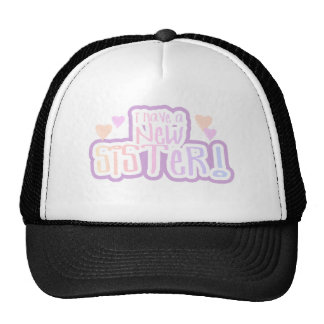 Pink Text I Have a New Sister Trucker Hat