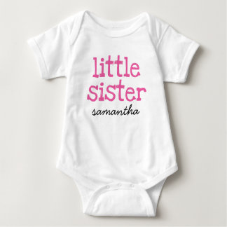 Pink Text Little Sister Custom Add Name Baby Bodysuit