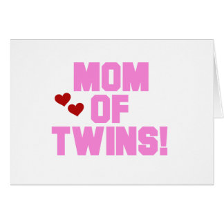 Pink Text Mom of Twins Card