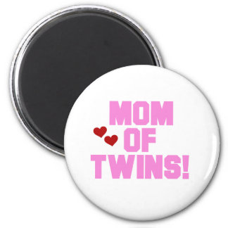 Pink Text Mom of Twins 2 Inch Round Magnet