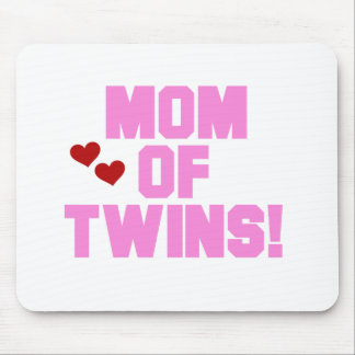Pink Text Mom of Twins Mouse Pad