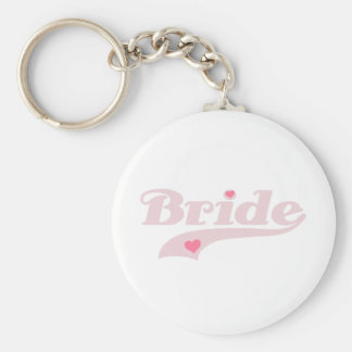 Pink Text with Hearts Bride Keychain