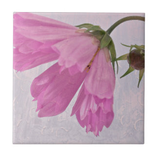 Pink Textured Cosmo Flower Ceramic Tile