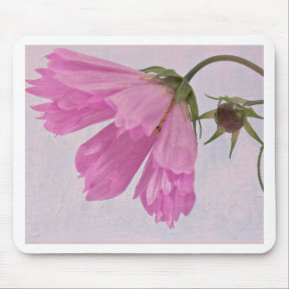 Pink Textured Cosmo Flower Mouse Pad