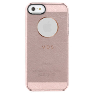 Pink Textured Faux Metallic Peephole Personalized Clear iPhone SE/5/5s Case