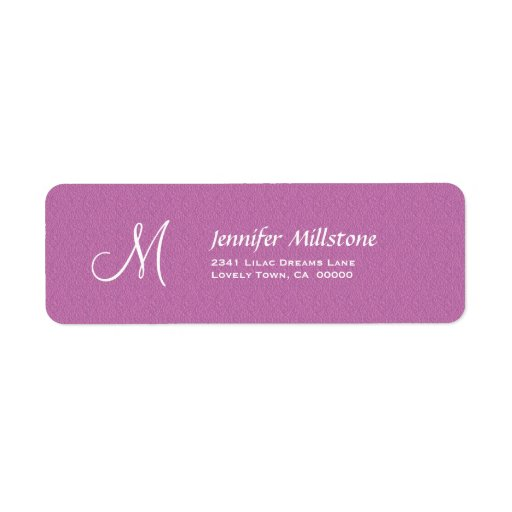 PINK Textured Wedding Monogram Address Label