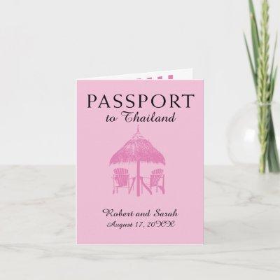 Pink Thailand Wedding Passport Invitation