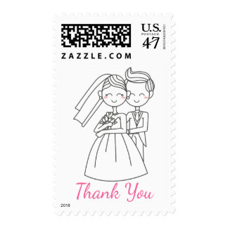 Pink Thank You Cartoon Bride and Groom Wedding Postage Stamp
