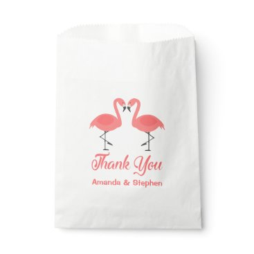 Beach Themed Pink Thank You Flamingos Wedding Party Luau Favor Bag