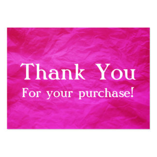Pink Thank You For your Purchase Cards Large Business Card
