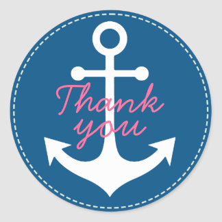 pink thank you on white anchor on blue classic round sticker
