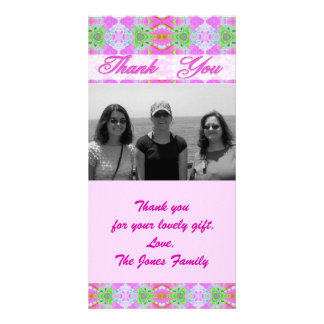 pink thank you photo card template
