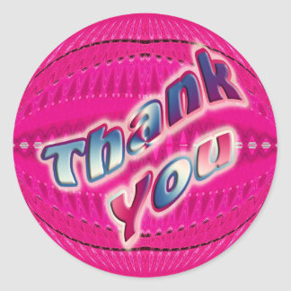 Pink Thank You Round Sticker