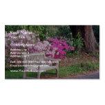 Pink The garden bench flowers Business Card