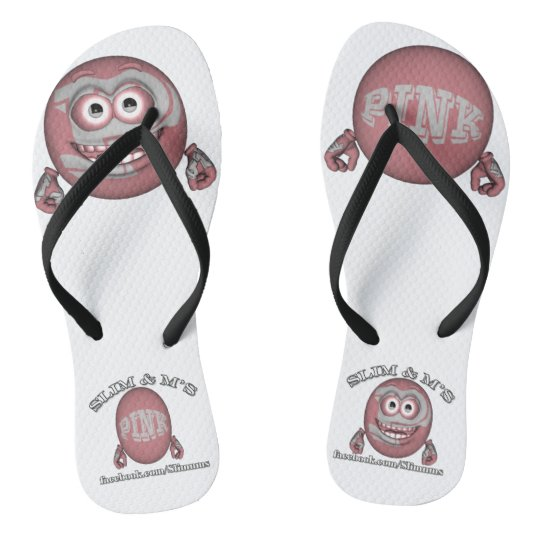 Pink The Symbol For Cancer Awareness Slim Ms Flip Flops Zazzle