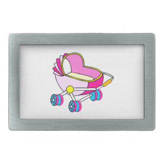 Pink theme baby carriage graphic rectangular belt buckles