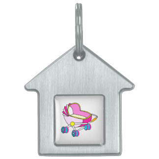 Pink theme baby carriage graphic pet ID tag
