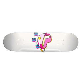 Pink theme baby carriage graphic skate board deck