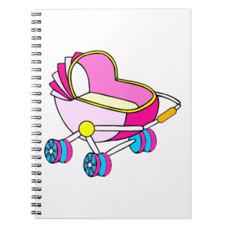 Pink theme baby carriage graphic spiral notebook
