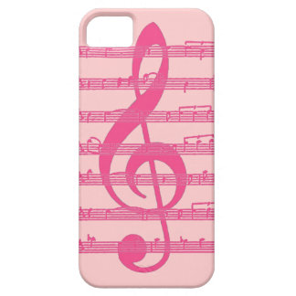Pink theme treble clef music note iphone 5 case