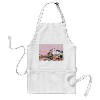 pink themed split house sketch beach scene apron