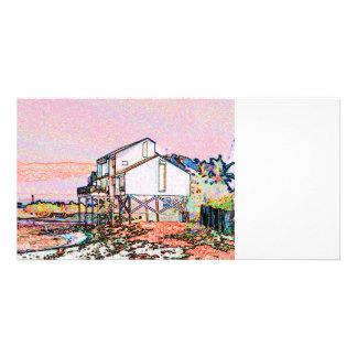 pink themed split house sketch beach scene custom photo card