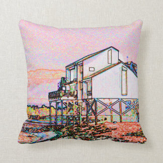 pink themed split house sketch beach scene throw pillow