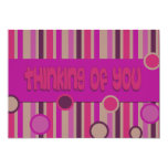 pink thinking of you 5x7 paper invitation card