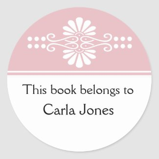Pink This Book Belongs To Labels sticker