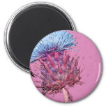 pink thistle 2 inch round magnet
