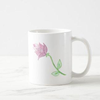 Pink Thistle Flower Motif Mug