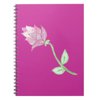 Pink Thistle Flower Motif Note Book