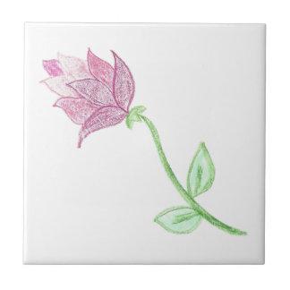 Pink Thistle Flower Motif Ceramic Tile