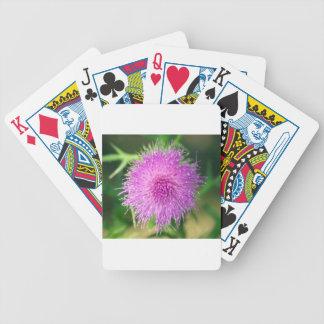 Pink Thistle Flower Poker Deck