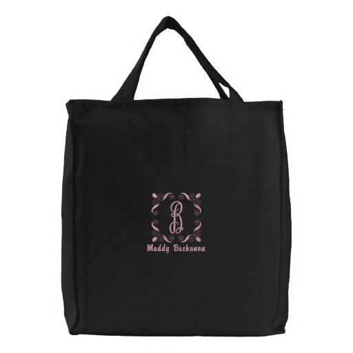 Pink Thread Monogrammed Custom Embroidered Tote Bag