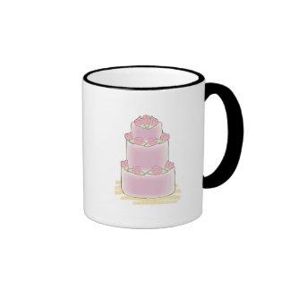 pink three layer cake coffee mugs